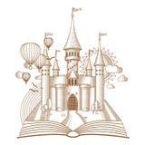 Мир сказов, fairy замок появляясь от старой книги, иллюстрация вектора шаржа Mono линия искусство Стоковые Фотографии RF