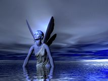 Fairy. Blue fairy bathing in the Ocean or Sea Stock Image