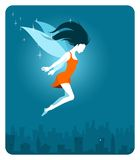 Fairy above the city Royalty Free Stock Photos