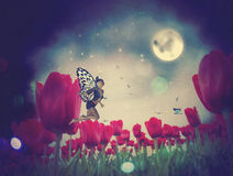 Fairy And Tulips Royalty Free Stock Image