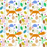 Fairy animals on pattern Royalty Free Stock Photography