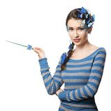 Fairy with art make-up blue butterflies Royalty Free Stock Photos