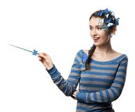 Fairy with art make-up blue butterflies Royalty Free Stock Image