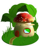 Fairy background. Vectors fabulous home of fly agaric. Fantasy Stock Photos