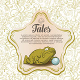 Fairy background. Big frog with pearl Royalty Free Stock Images