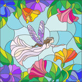 Fairy on a background of leaves and flowers, stained glass style. Illustration in stained glass style with a winged fairy in the sky, flowers and greenery Royalty Free Stock Image
