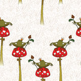 Fairy background. Princess frog on mushroom amanita. Stock Photography