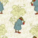 Fairy background. Seamless pattern. Frog in jacket Stock Photography