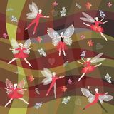 Fairy ballet dancers with butterflies wings on abstract background. Endless pattern Stock Image