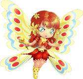 Fairy. The beautiful bright fantastic fairy with wings and a magic wand vector illustration