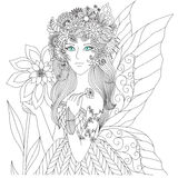 Fairy. Beautiful forest fairy for coloring book for adult Royalty Free Stock Photography