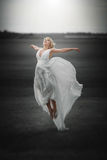 Fairy. Beautiful Girl in Blowing Dress Flying. Magic. Beautiful Girl in blowing Dress Flying. Free. Freedom concept Royalty Free Stock Images