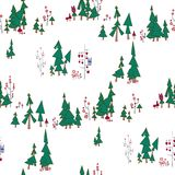 Seamless Pattern with fairy woods. Fairy  beautiful Seamless pattern. Fairy forest with owls and monsters. On the illustration there are pine trees, branched Stock Photo