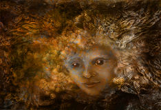 Fairy being with crown of feathers, iluustration in brown sepia tones Royalty Free Stock Images