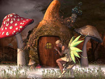 Fairy Belle. Plays with glowflies outside her gourd home in the magical forest Royalty Free Stock Photo