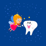 Fairy and Big Tooth. Cute hand drawn greeting card for Tooth Fairy Day as funny smiling cartoon character of tooth fairy with crown, wings and big kids tooth Royalty Free Stock Photos