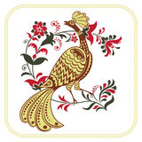 Fairy bird and whimsical floral branch. Character of Russian fairy tales. Ethnic Russian style Royalty Free Stock Photography