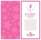 Fairy birthday card invitation Stock Photos