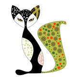 Fairy black cat with amazing eyes and flower pattern. Stock Photography