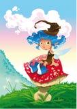 Fairy-Blu ed il fungo Fotografia Stock Libera da Diritti
