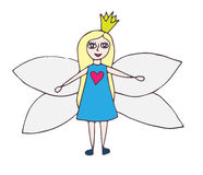 Fairy in blue dress with a pink heart with the exposed wings Stock Photography