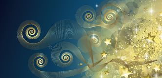 Fairy blue and gold banner. Full vector Stock Photos