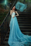 Fairy  blue long dress of a fairy tale. Royalty Free Stock Photo