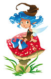Fairy-Blue and the mushroom. Fairy is sat on a mushroom, in the forest - vector image Royalty Free Stock Photography