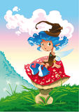 Fairy-Blue and the mushroom. Fairy is sat on a mushroom, in the landscape - vector image Royalty Free Stock Photo