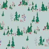 Seamless pattern with fairy forest. Fairy Blue Seamless pattern. Fairy forest with owls and monsters. On the illustration there are pine trees, branched trees Stock Photography