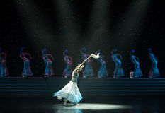 Fairy-Blue and white porcelain-Chinese folk dance Royalty Free Stock Images