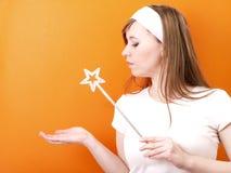 Fairy bonito com varinha Imagens de Stock