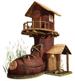 Fairy boot house. 3D render of a fairy boot house Stock Photo