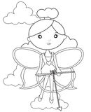 Fairy with a bow and arrow coloring page Royalty Free Stock Images