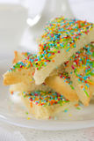 Fairy bread. Bread decorated with colored candies Stock Photo