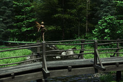 Fairy Bridge. Digital render of a tiny fairy poised on the rail of a wooden bridge over a woodland stream Stock Photo