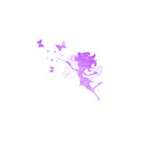 Fairy with butterflies watercolor silhouettes icon Royalty Free Stock Photo