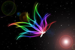 A fairy butterfly. The fantastic colorful butterfly in space Stock Image
