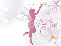 Fairy and butterfly on a background with orchids Royalty Free Stock Images