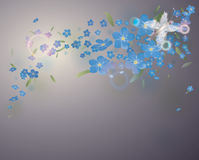 Fairy butterfly in blue flowers. Gentle floral background with blue blossoms Royalty Free Stock Images