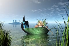 Fairy Butterfly Boat. Digital render of a fairy rowing a butterfly boat on a quiet lake Royalty Free Stock Images