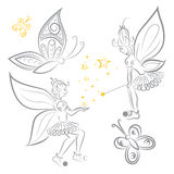 Fairy and butterfly. Vector image fairy and butterfly Stock Photography