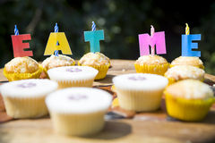Fairy Cakes. Small Fairy Cakes at a Child's Birthday Party Stock Photos