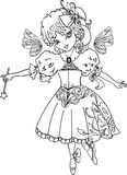 Fairy Cartoon Outline drawing Stock Photo
