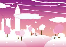 Fairy castle. Winter background with fairy castle Royalty Free Stock Image