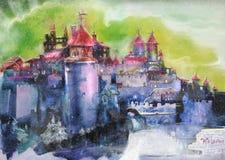 Fairy castle stock illustration