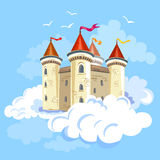 Fairy castle in the air in the clouds Stock Photography