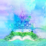 Fairy castle appearing from the book. Magic world of tales, fairy castle appearing from the book Royalty Free Stock Photos