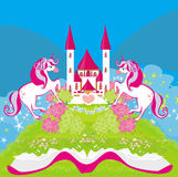 Fairy castle appearing from the book. Illustration Royalty Free Stock Photography