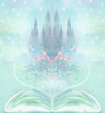 Fairy castle appearing from the book. Magic world of tales, fairy castle appearing from the book Stock Photo